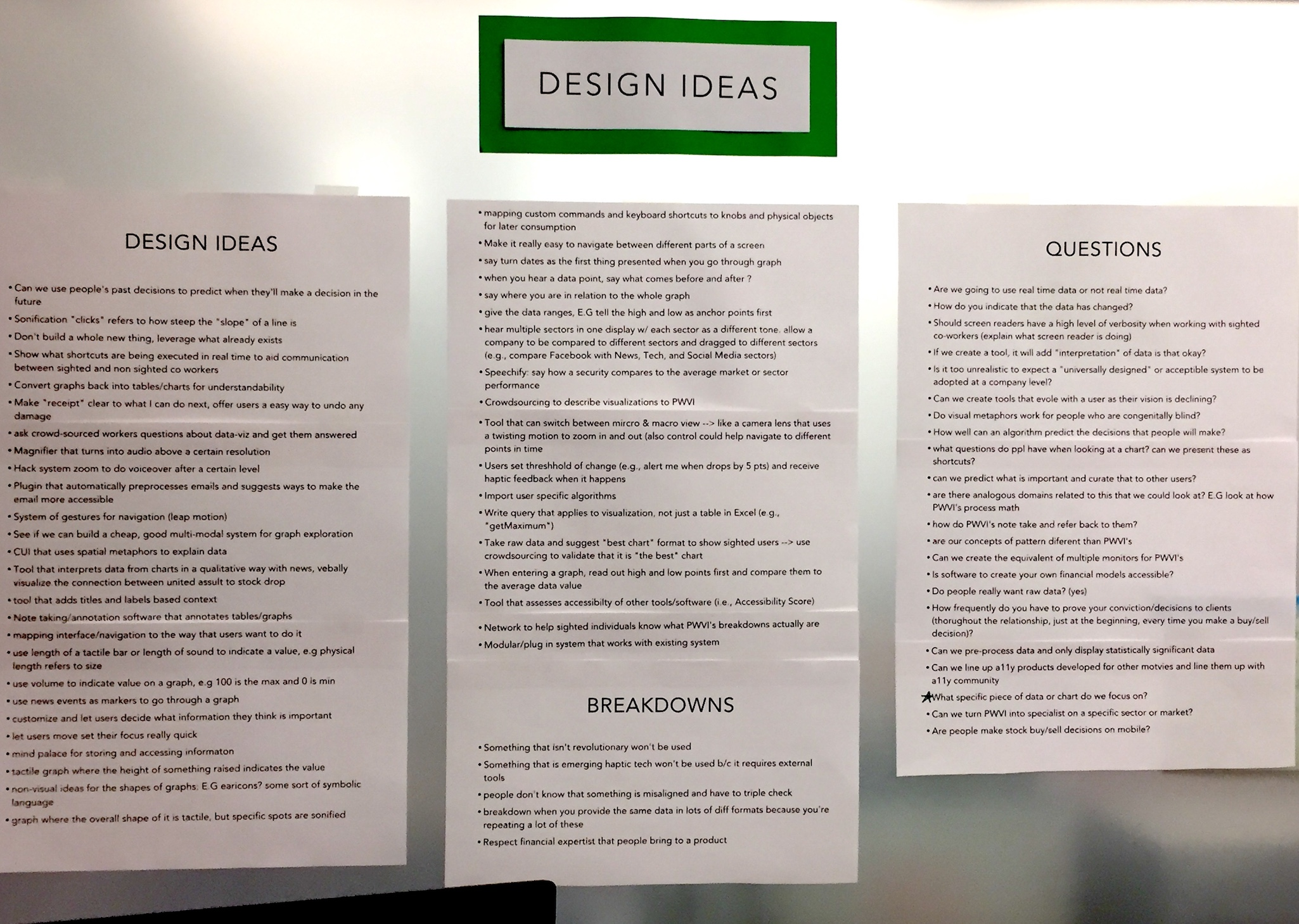 Three long white sheets with a white label on top that says 'Design Ideas.' The first sheet lists dozens of design ideas, the second sheet lists 'breakdowns', and the third sheet lists 'questions.' Text too small to read.