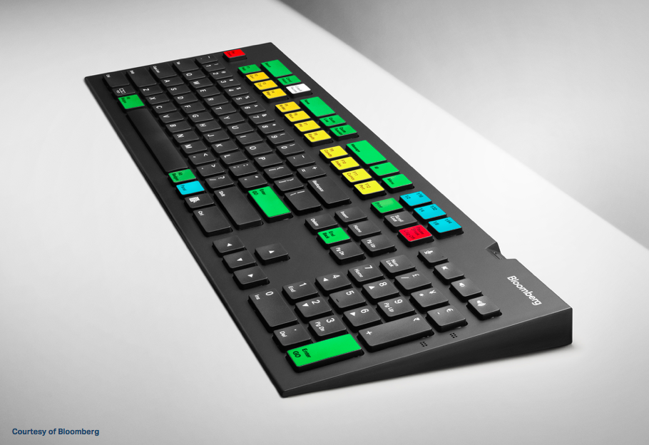 Stylized photograph of Bloomberg keyboard